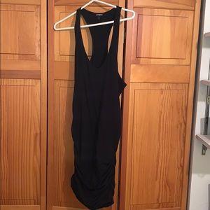 Express black ruched mini bodycon dress